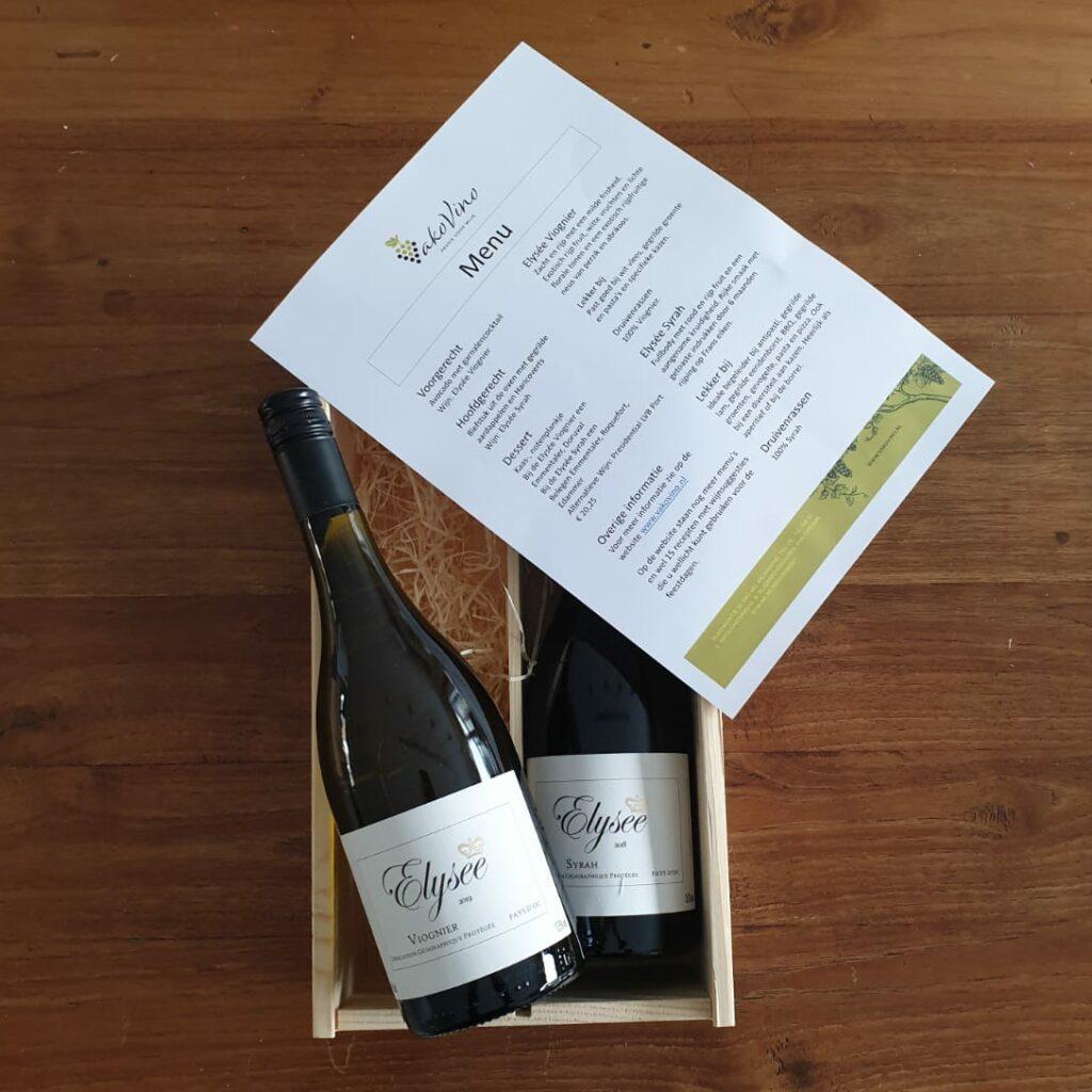 Wijngeschenk met menukaart en recepten